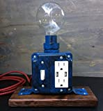 Custom Industrial Steampunk Desk Lamp: Distressed Tardis Blue, with Edison Bulb and USB Charging Station