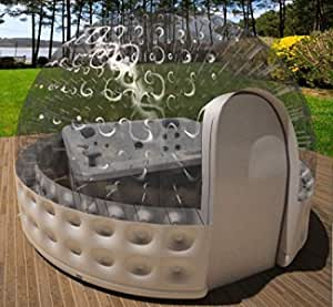 Inflatable Hot Tub Spa Solar Dome Cover Tent Structure W/Pump & Anchors (14ft. diameter)