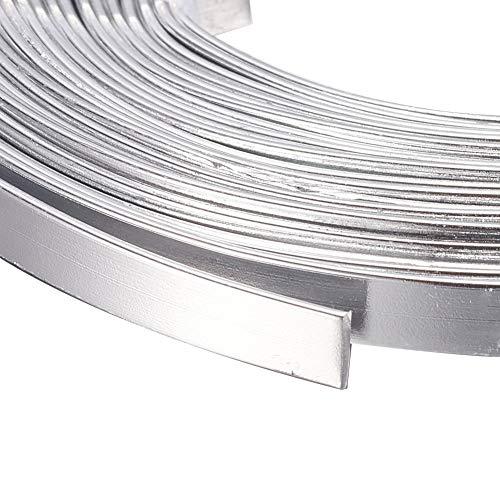 Kissitty 5 Rolls 3mm Wide Flat Jewelry Artistic Aluminum Wire Silver 18 Gauge About 6.5 Feet/Roll
