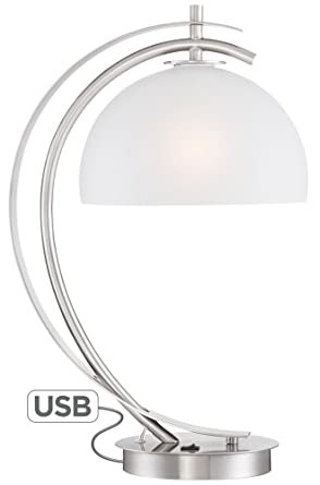 Exceptional Possini Euro Calvin Glass Dome Table Lamp With USB Port