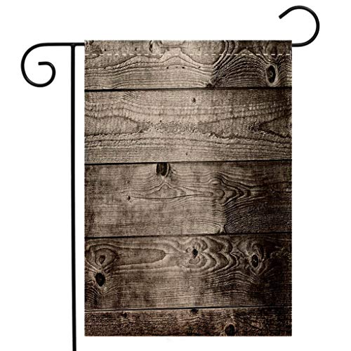 (Custom Double Sided Seasonal Garden Flag Dark Grey Ombre Style Grunge Wooden Planks Rustic Timber Oak Wall Rough Texture Image Decorative Garden Flag Waterproof for Party Holiday Home Garden Decor)