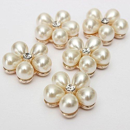 CynKen 5pcs Plum Flower Rhinestone Ivory Pearl Buttons Golden Tone Shank