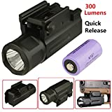 Field Sport FLP1 Series 400 Lumen Pistol LED On Off Push Switch Flashlight Weaver Mount and Quick Release, Battery Included