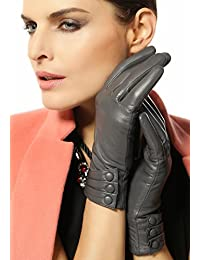 Women's Touchscreen Texting Driving Winter Warm Nappa Leather Gloves (Fleece or Cashmere Lining)