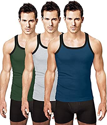 Rupa Hunk Assorted Cotton Gym Vest (Pack Of 3) Men's Underwear Vests at amazon
