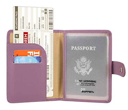 Zoppen Rfid Blocking Travel Passport Holder Cover Slim Id Card Case (34# Elegant Purple)