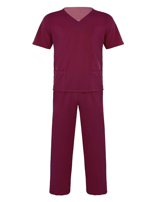 inlzdz Uniforme Sanitario M/édico Enfermera Ropa Quir/úrgica Unisex Casaca y Pantalones Ropa Laboratorios Vestimenta Sal/ón De Belleza Monos