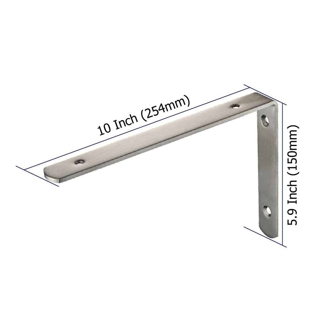 MewuDecor 4 PCS L Shaped Corner Brackets Shelf Supports, Stainless Steel Right Angle Corner Brackets/Braces with Screws, 10 x 5.9 inches (254mm x 150mm) by MewuDecor (Image #1)