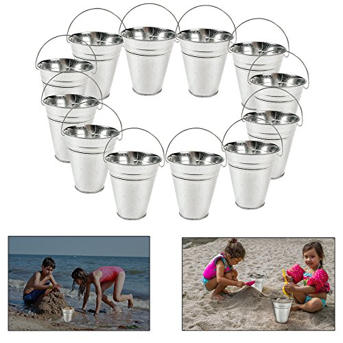 dazzling toys Large Galvanized Buckets (Pack of 6) Great Buckets for Planters or Unique Goody Baskets -