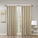 Blackout Curtains For Bedroom , Luxury Valance Gold Window Curtains For Living Room Family Room , Cassius Jacquard Rod Pocket Black Black Out Window Curtain For Kitchen, 50X84', 1-Panel Pack