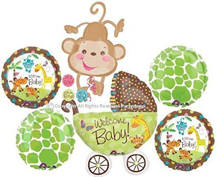 FISHER PRICE SAFARI ANIMAL MONKEY BABY SHOWER BALLOONS BOUQUET DECORATIONS SUPPLIES JUNGLE BABY SHOWER
