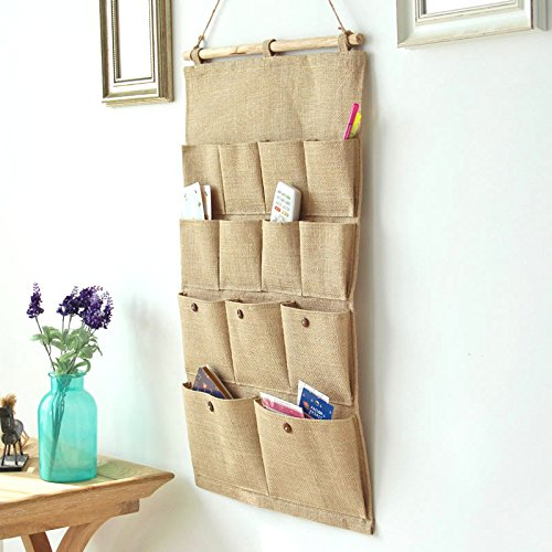 Door Storage Bag Organizers,Feicuan Wall Hanging Case Jute 13 pockets for Closet