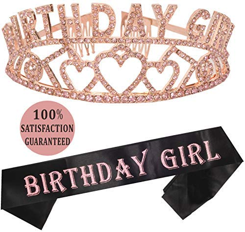 MEANT2TOBE Birthday Girl Sash and Tiara | Birthday Girl Sash and Crown | Happy Birthday Party Supplies|,Favors, Decorations 13th, 16th, 21st, 30th, 40th, 50th, 60th, 70th, 80th, 90th Birthday (Pink)]()