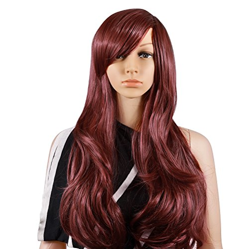 Cleopatra Costumes For Teenager (Krodi Wig Fashion Heat Resistant Big Wavy Long Curly Wavy Human Hair Wigs (Wine Red))