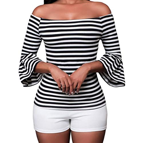 - SUBWELL Women's Off Shoulder Flared Sleeve Black and White Stripe T Shirt Top Blouse