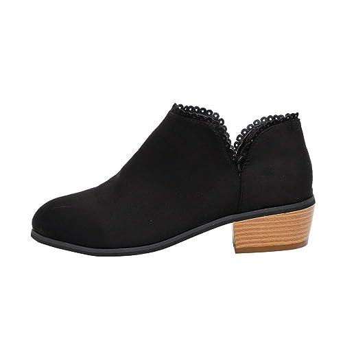 Gusspower Botines Mujer Tacon Medio Planos Ancho Piel Botas Zapatos Moda 3.5cm Casual con Encaje