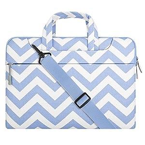 MOSISO Laptop Shoulder Bag Compatible 13-13.3 Inch MacBook Pro, MacBook Air, Notebook Computer, Chevron Style Messenger Briefcase Carrying Handbag Sleeve Case Cover, Serenity Blue