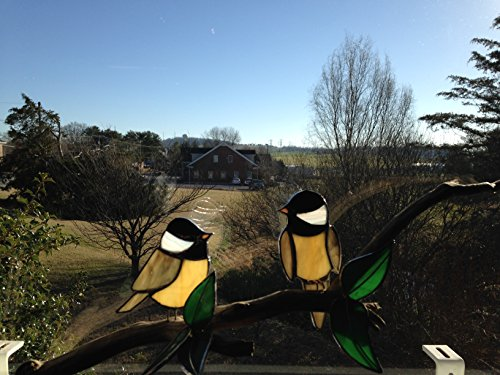 Stained Glass Chickadees on Branch with Stained Glass Leaves in Handcrafted Oak Base -