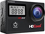 HDCool HCN5000 4K Action Camera 20MP 170 Degree Ultra Wide-Angle Lens Wi-Fi Waterproof Sport Camera, 2.0 Inch LCD Display with 0.96 Inch Front Screen, Include 2 Rechargeable 1050 mAh Batteries