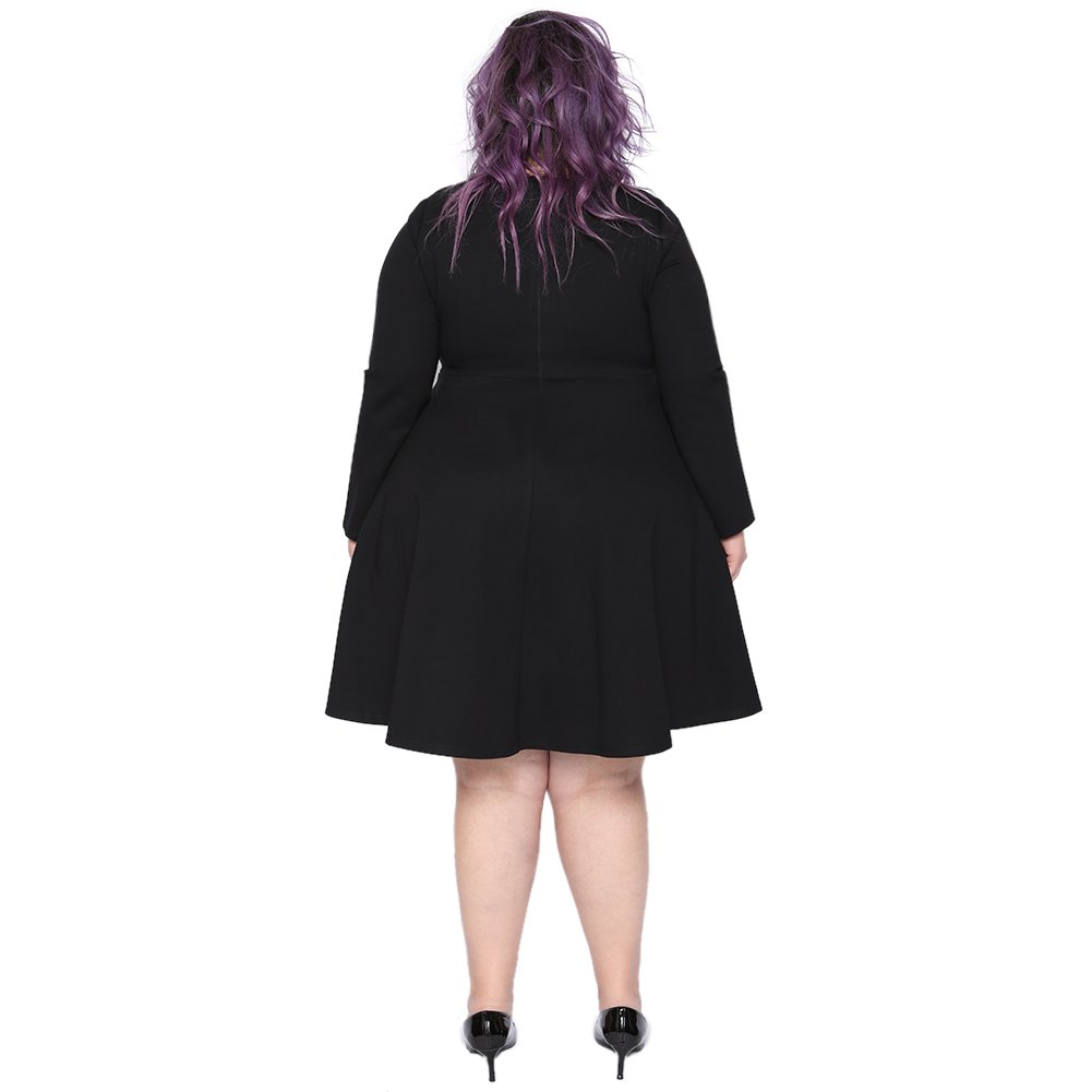 Astra Signature Women's Plus Size Plain Long Sleeve Loose Swing Casual Midi Dress (Black, 18W) by Astra Signature (Image #3)