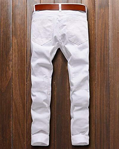 Uomo Tinta Abbigliamento Jeans Denim Fit Da Bianca Motociclista Vintage Pantaloni Slim Skinny Unita In Zippati w047wq81
