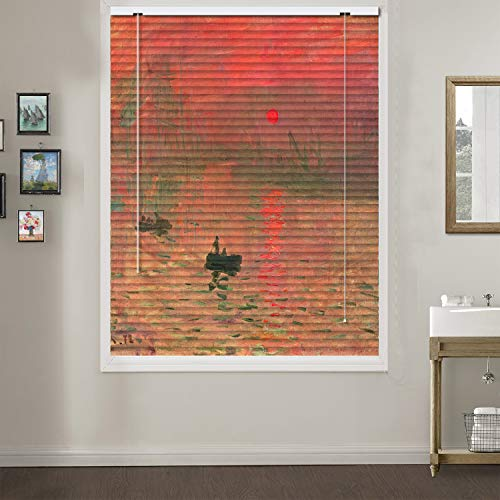 Home Impressions Mini Blind - Patterned Aluminium Mini Window Blinds, Impression Sunrise, by Claude Monet, Premium 1-inch Blackout Light Filtering Horizontal Custom Blinds, 53