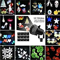Christmas LED Projector Snowflake Lights Spotlights Detachable Outdoor Waterproof Animation Magic 12PCS Switchable Mode Anime Garden Courtyard Swimming Pool