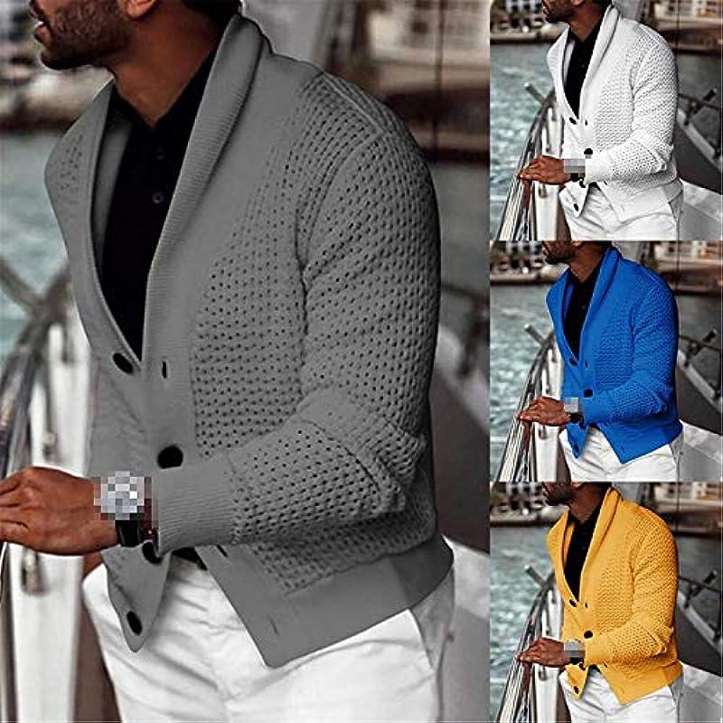 Men's Solid Color Cardigan Long Sleeve Loose Cardigan L Size Coat Button Top,E707356,X-L: Odzież