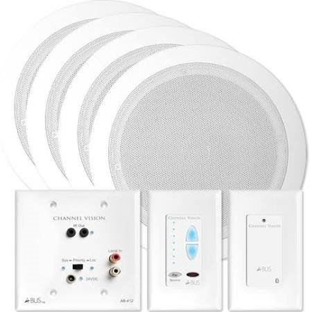 Channel Vision A-BUS Audio Distribution Kit with Bluetooth & Speakers, 2 Zones (AB-909W)
