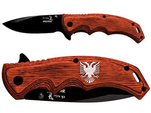 - NDZ Performance Double Headed Eagle Crest Engraved & Hand-Painted White Elk Ridge ER-A004BW Brown Pakkawood Stalwart Folding Ballistic Pocket Knife