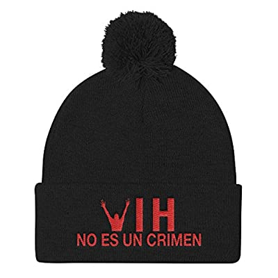HIV is Not a Crime Pom Pom Hat Knit Beanie Cap - Spanish One Size Black