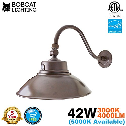 Bobcat Lighting 14 Inch Bronze LED Gooseneck Barn Light Fixture, Photocell Included, 42W, 3000K(Warm White), 4000 Lumens, IP65. Energy Star Rated - ETL Listed - Sign Lighting - Energy Star Wall Lighting