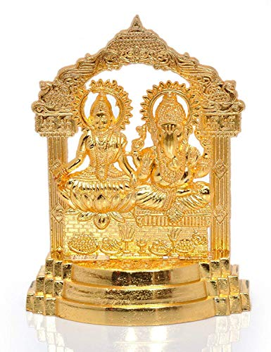 Laxmi Ganesh Gold Plated Statue Diwali Puja Spiritual Gift Idol Murti for Pooja/Home Decor/Gift