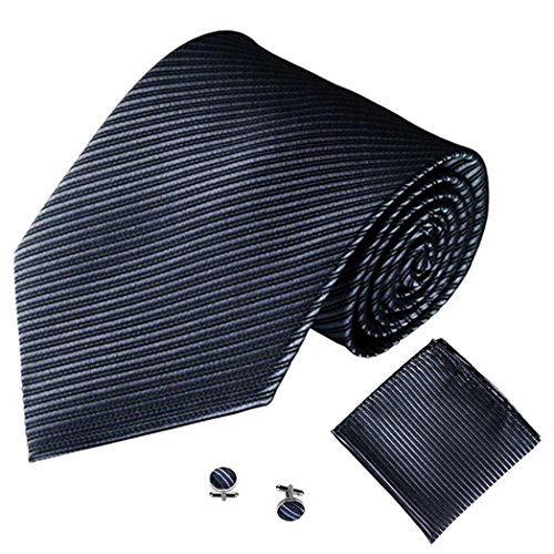 Business Cuff Necktie Dark Jacquard Color ZHOUBA Stripe Set Men Gray Handkerchief Solid Links wfqFFB