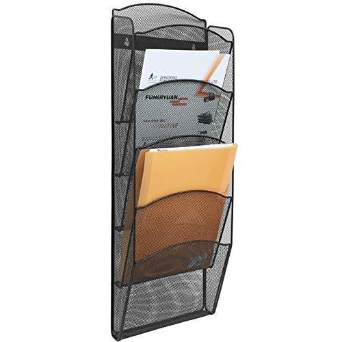 Nice Greenco Mesh 5 Slot Wall Mounted Magazine Rack Holder, Black
