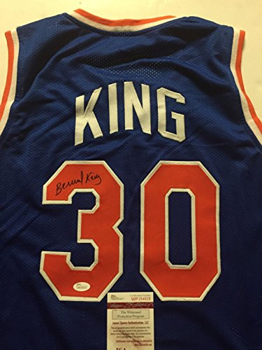 Autographed/Signed Bernard King New York Knicks Blue Basketball Jersey JSA COA