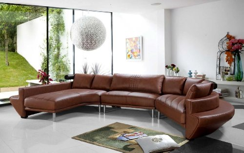 Vig Furniture Jupiter Brown Leather Sectional Sofa