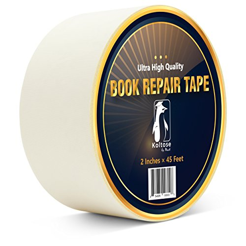 Bookbinding Tape, White Cloth Book Repair Tape for Bookbinders, Semi-Transparent Hinging Tape, Craft Tape, 2 Inches by 45 (White Linen Tape)