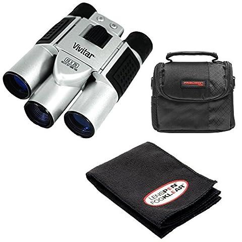 Vivitar 10x25 Binoculars with Built-in Digital Camera with Case + Cleaning Kit (Binocular Vivitar)