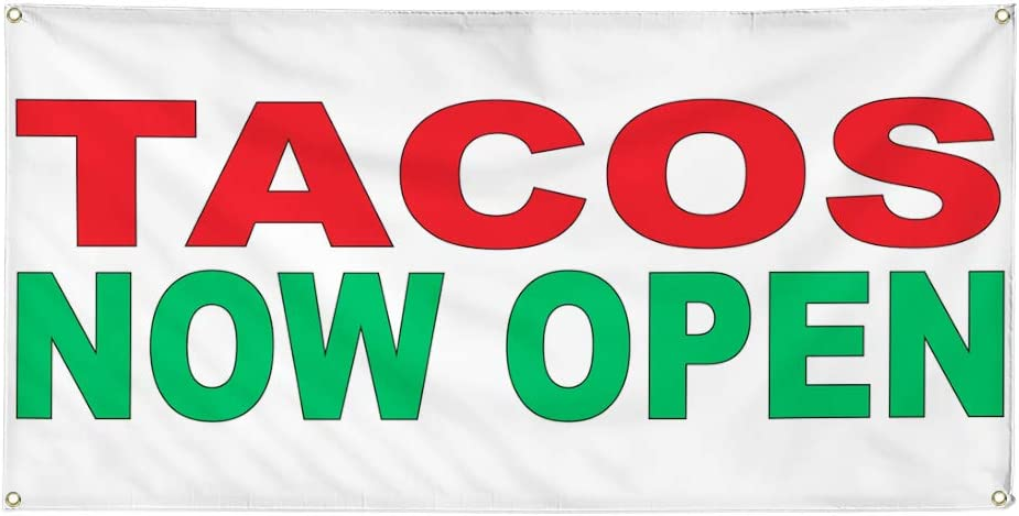 Vinyl Banner Multiple Sizes Tacos Now Open Red Green Food Bar Restaurant Truck Business Outdoor Weatherproof Industrial Yard Signs 4 Grommets 24x48Inches