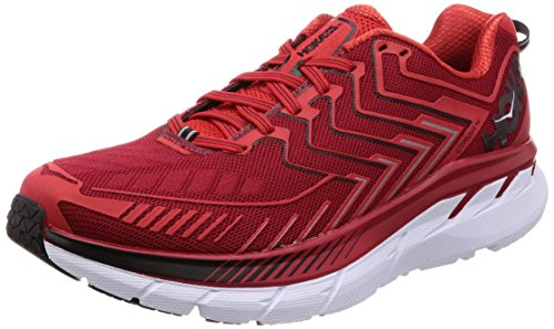 HOKA ONE ONE Men's Clifton 4 Running Shoe Haute Red/High Risk Red Size 9 M US