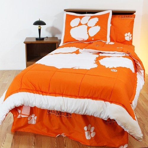 Clemson Tigers 6 pc. Twin Bed in a Bag Set and (ONE) Matching Window Curtain Valance - Entire Set Includes: (1) Twin Reversible Comforter, (1) Standard Pillow Sham, (1) TWIN Flat Sheet, (1) TWIN Fitted Sheet, (1) Standard Pillow Case, (1) Twin Size Bedskirt and (1) Matching Window Curtain Valance - Save Big By Bundling!