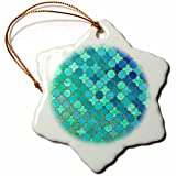 3dRose Uta Naumann Faux Glitter Pattern - Luxury Trendy Green and Blue Moroccan Arabic Quatrefoil Tile Pattern - 3 inch Snowflake Porcelain Ornament (orn_268956_1)