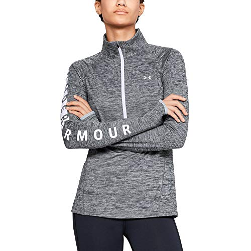 Under Armour Women's Coldgear Armour Graphic 1/2 Zip, Steel Light Heather (035)/Metallic Silver, X-Small by Under Armour (Image #1)