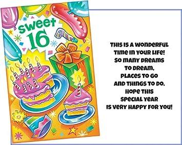 Amazon.com: Tarjeta de felicitación de 16 cumpleaños. Este ...