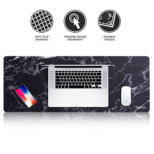 Insten Extra Large Mouse Pad, Marble Extended Computer Mouse Pad XL XXL for Desktop, with Waterproof Coating, Non-Slip Base, Silky Smooth Surface, Durable Stitched Edges - 31.5 X 12, Black Marble