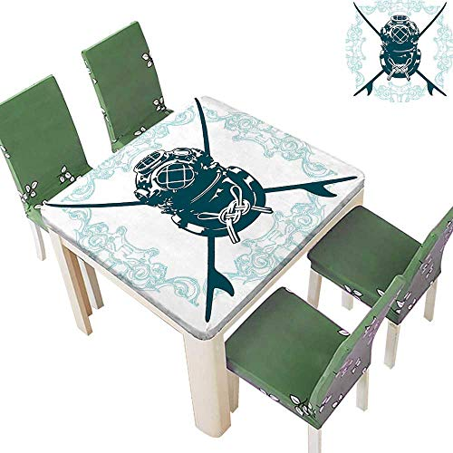 Printsonne Fitted Polyester Tablecloth Odd Surf Sign Div Suit Elements Myst Underw er Life Recre i al Blue Washable for Tablecloth 52 x 52 Inch (Elastic Edge) -