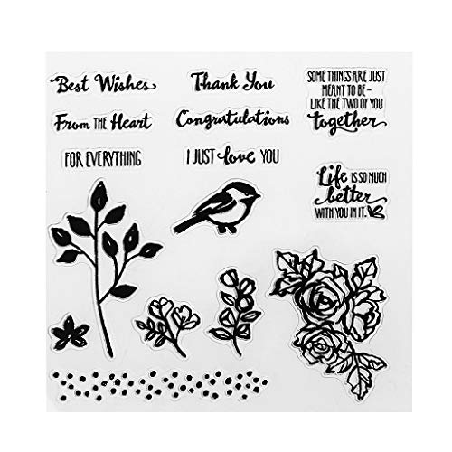 ShapeW Birds Flowers and Words Transparent Stamps Silicone Stamps Clear Stamps for DIY Scrapbooking Card Cards Making Photo Album Decorative