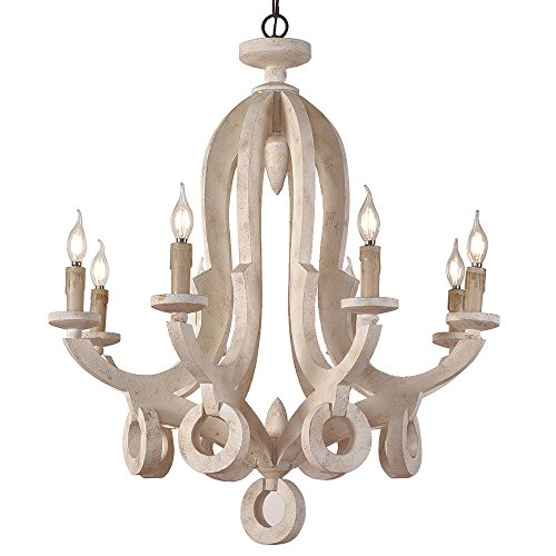 (Lovedima Rustic Cottage Chic Sculpted Wooden 8-Light Chandelier Ceiling Light Fixture with Candle Shaped Lighting Dinning Room/5 Star Hotel (Distressed White-8-Light) )