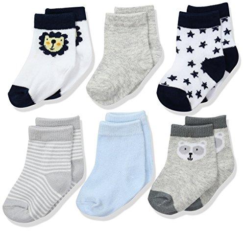 Rene Rofe Baby Baby 6 Pack of Socks on Header Card, Blue Lion, 12-24 Months